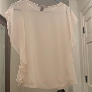 Forever 21 Cream top with ruffle sleeves